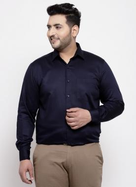 Men Navy Regular Fit Solid Formal Shirt
