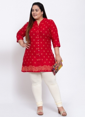 Women Red & Blue Printed Tunic