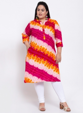 Women Red Checked Straight Kurta