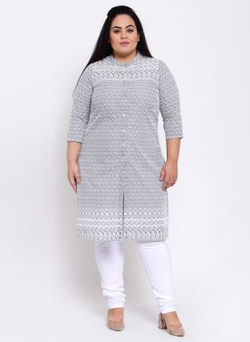 Women Grey & Brown Embroidered Straight Kurta