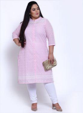 Women Pink Embroidered A-Line Kurta