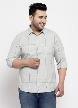 Men Grey check Regular Fit Checked Casual Shirt