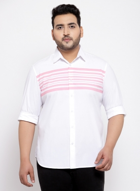 Men Plus Size White Regular Fit Solid Casual Shirt
