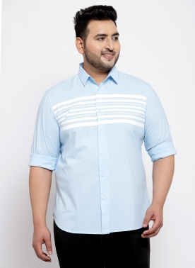 Men Blue & White Chambray Regular Fit Striped Casual Shirt