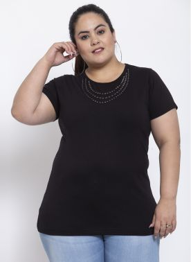 Women Cotton Half sleeve T-shirt with Neck eyelet