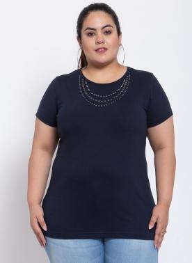 Women Navy Cotton Half sleeve T-shirt