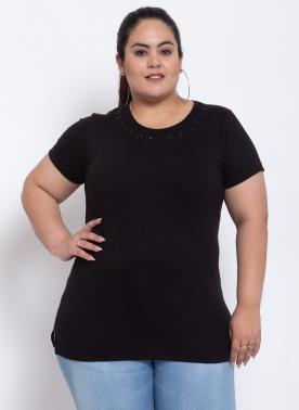 Women Black Cotton Half sleeve T-shirt