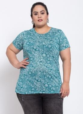 Womens Blue Flower Print Cotton T-shirt