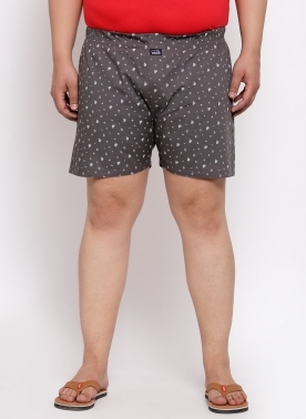 Men Grey Print Cotton Boxer