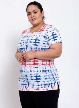 Womens Tie & Die Print Cotton T-shirt