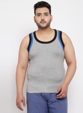 Men Grey Cotton Sando with Blue Contrast Strip