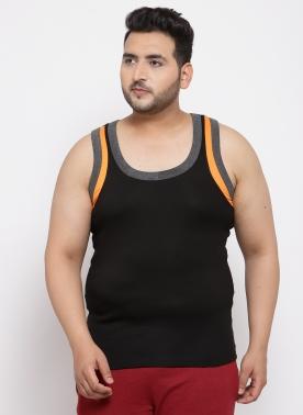 Men Black Cotton Sando with Mustard Contrast strip