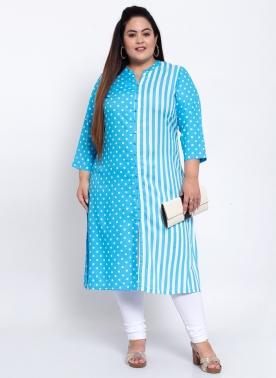Women Turquoise Blue & White Printed Kurta