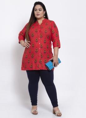 Women Red & Yellow Printed Tunic