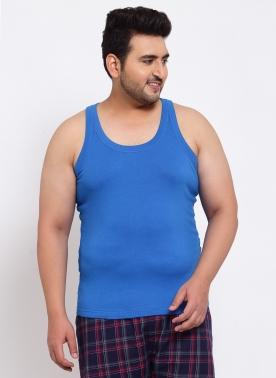 Men Plus Size Blue Solid Innerwear Vest