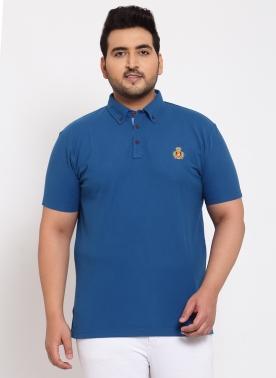 Men Blue Colourblocked Polo Neck T-shirt