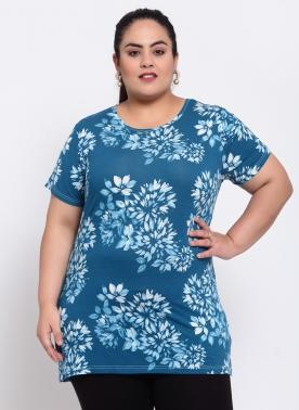 Women Plus Size Teal Blue & White Floral Print Round Neck Cotton T-shirt