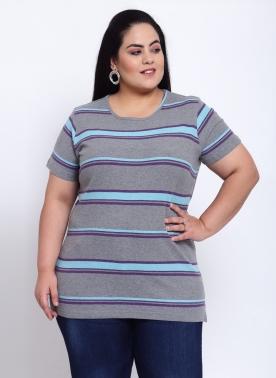 Women Plus Size Grey Striped Round Neck Cotton T-shirt