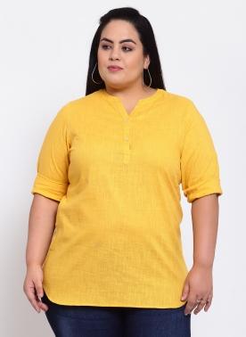 Mustard Yellow Floral Regular Top