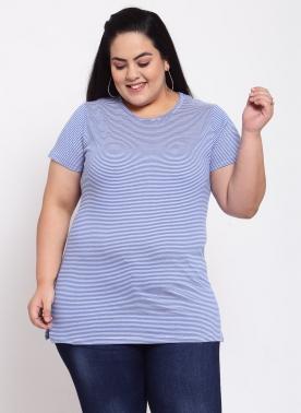 Women Plus Size Blue & White Striped Round Neck Cotton T-shirt