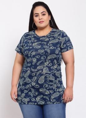 Women Blue Floral Printed Raw Edge T-shirt