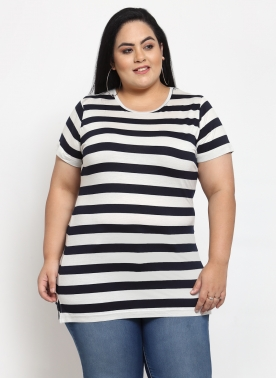 Women Blue Striped Extended Sleeves T-shirt