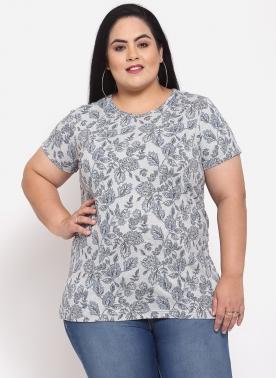 Women Grey & White Camouflage Printed T-shirt