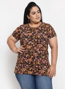 Women Plus Size Olive Green & White Printed Round Neck Cotton T-shirt