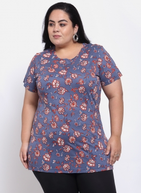 Women Purple & Red Floral Printed T-shirt