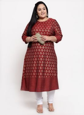 Women Maroon Ethnic Motifs Design Kurta