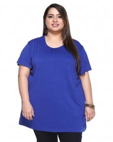 a Blue crew neck T-shirt