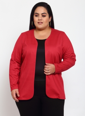 Women Red Solid Open Front Jacket