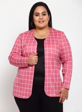 Women Pink & White Checked Open Front Jacket