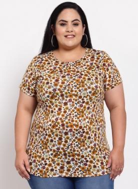 Women Brown Printed T-shirt