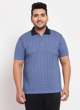 Men Blue & White Printed Polo Collar Pure Cotton T-shirt