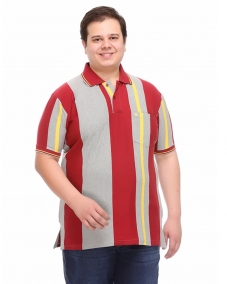a Grey Red Stripe Polo T-shirt
