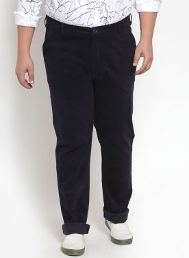 a Navy Cordroy Trouser with Regular FIt