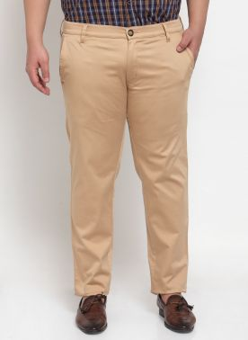 plusS Men Beige Regular Fit Chino Trousers