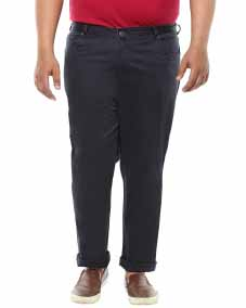 plusS Men Navy Solid Smart Fit Flat-Front Trousers