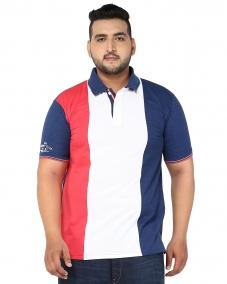 plusS Men White & Navy Colourblocked Polo Collar T-Shirt