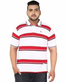 WHITE/RED POLO T-SHIRT