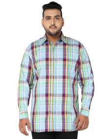 plusS Men Blue Comfort Fit Checked Casual Shirt