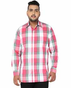 plusS Men Pink Comfort Fit Checked Casual Shirt