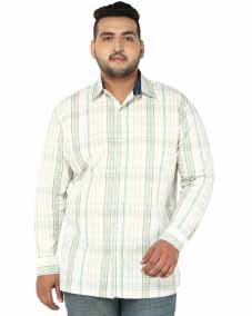 plusS Men White Regular Fit Checked Casual Shirt