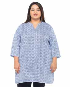 White/Blue Print Tunic