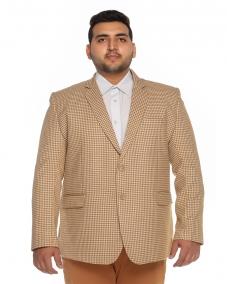 plusS Cream-Coloured Checked Single-Breasted Blazer