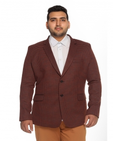 plusS Red Checked Single-Breasted Blazer