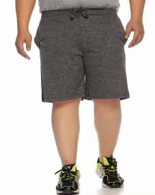 plusS Men Grey Solid Regular Fit Shorts