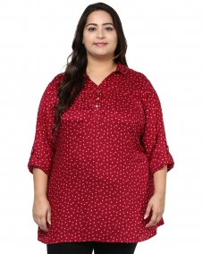 PlusS Red Printed Shirt-Style Top
