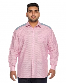 PLUSS MEN PINK PRINTED STANDARD FIT DOT CASUAL SHIRt